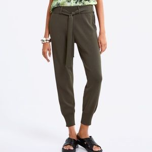 ZARA olive knit jogger pant tie front high waisted